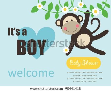 cute baby boy shower. vector illustration - stock vector