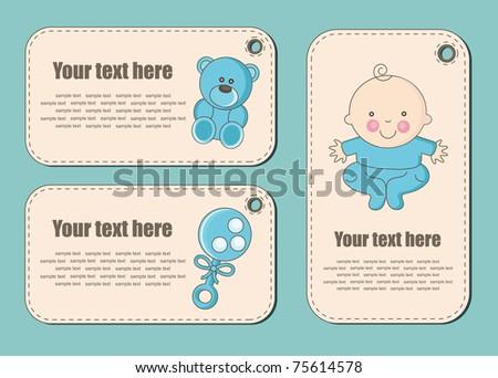 cute baby boy stickers. vector illustration - stock vector