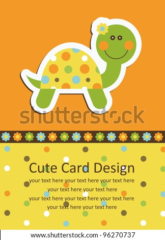 cute baby card with nice turtle. vector illustration - stock vector