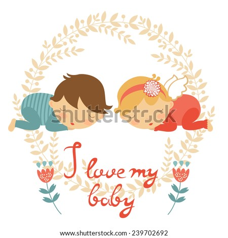 Cute baby card with two babies sleeping. vector illustration - stock vector