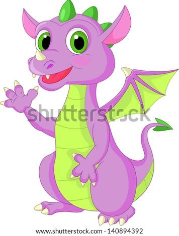 Cute baby dragon waving hand - stock vector