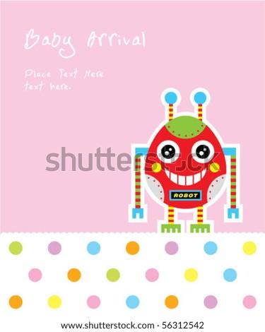 cute baby egg robot - stock vector