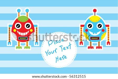 cute baby egg robot couple - stock vector