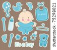 cute baby elements. vector illustration - stock vector