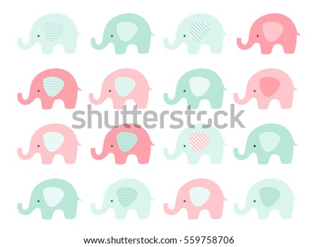 Cute baby elephant set. Vector elephants with patterned ears. Mint and Pink. Baby Shower.