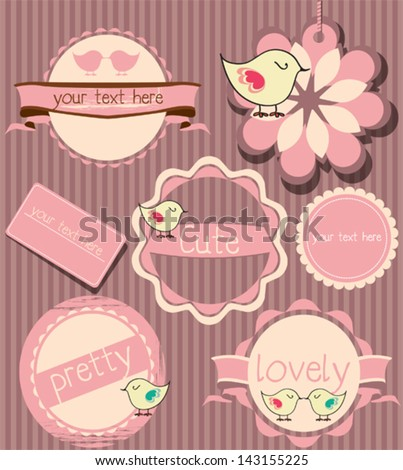 cute baby frames label set messages stock vector royalty free