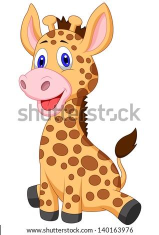 Cute baby giraffe carton - stock vector