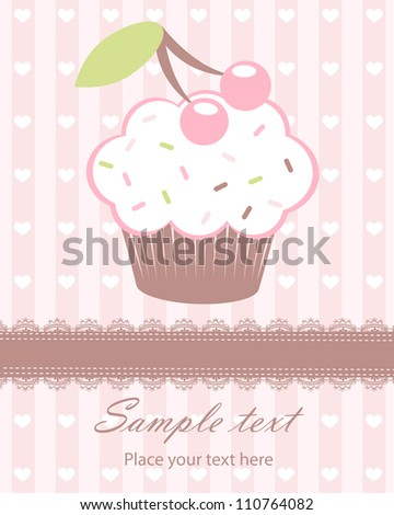 Cute baby girl arrival announcement card with cupcake