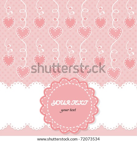 cute baby girl rose vector background with hearts and frame - stock vector