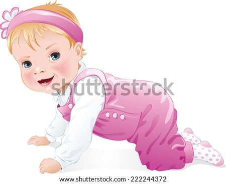 Cute baby girl smiling and crawling, isolated. Vector illustration - stock vector