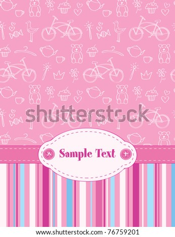 cute baby greeting card for girl - stock vector
