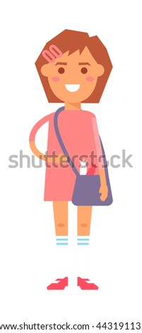 Cute baby kid girl and cute character vector. Cute girl beautiful fashion young female and cute dress kid love child. Happy girl. Cartoon character. - stock vector