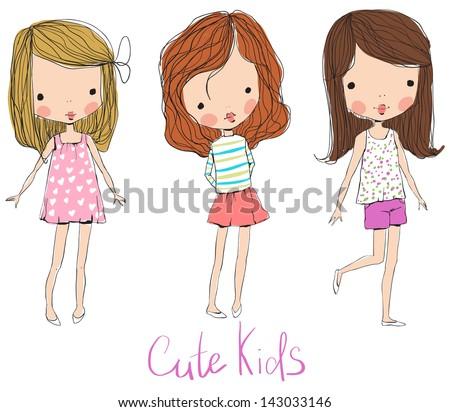 cute baby kids - stock vector