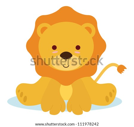 cute baby lion for newborns events - stock vector