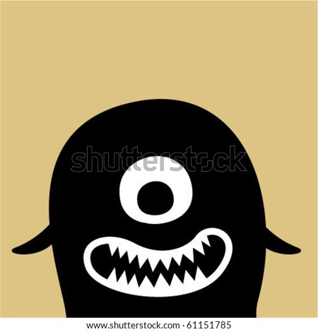 cute baby monster tag - stock vector