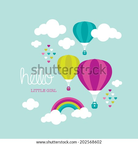 Cute baby nursery announcement little girl postcard hot air balloon illustration cover design - stock vector