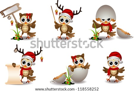 cute baby owl with christmas costume - stock vector
