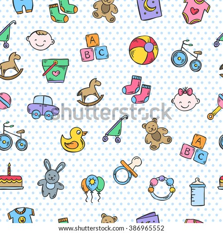 Cute baby pattern with polka dots. Vector seamless pattern for children
