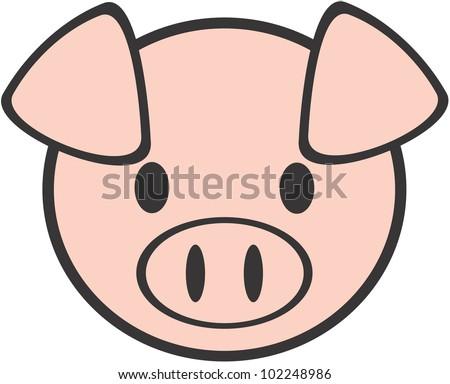 Cute Baby Pig - stock vector