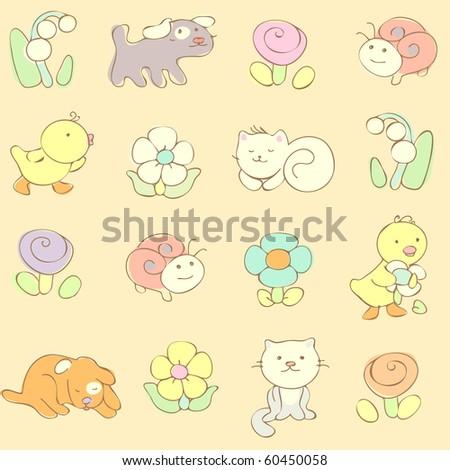 cute baby seamless pattern. vector  illustration - stock vector