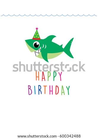 Cute Baby Shark Happy Birthday Greeting Stock Vector Royalty Free