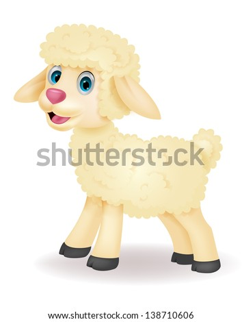 Cute baby sheep cartoon - stock vector