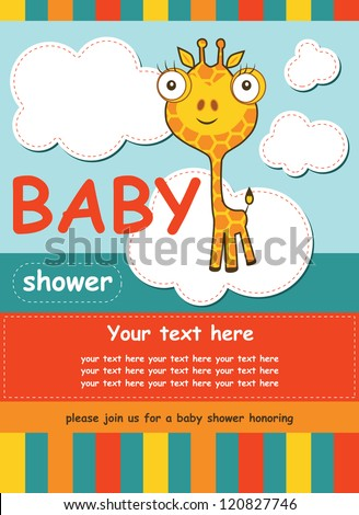 cute baby shower card with giraffe. vector illustration - stock vector