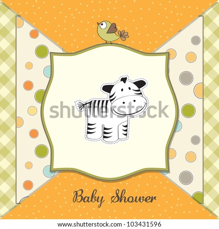 cute baby shower card with zebra - stock vector