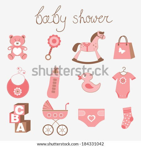 Cute baby shower girl collection - stock vector