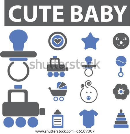 cute baby signs. vector - stock vector