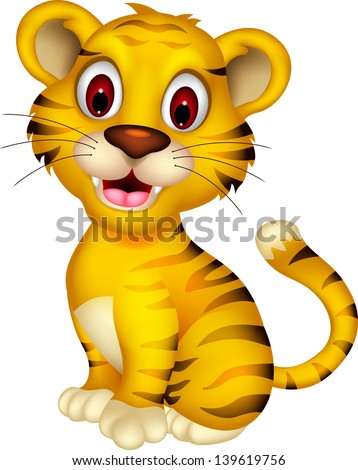 cute baby tiger posing - stock vector