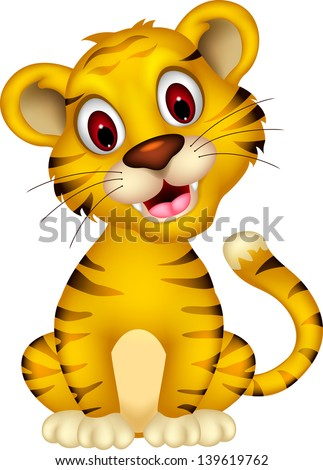 cute baby tiger posing - stock vector