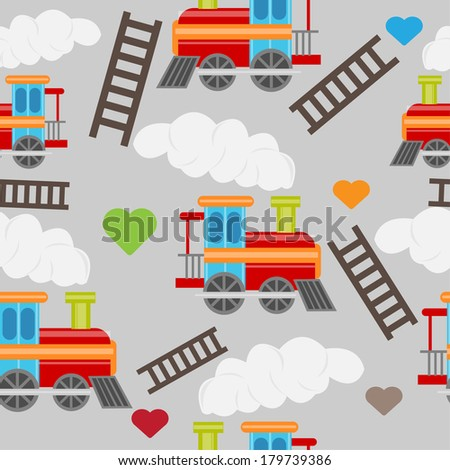 cute baby train seamless - stock vector