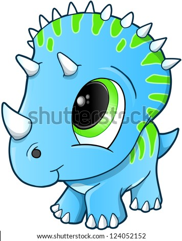 Cute Baby Triceratops Dinosaur Vector Illustration - stock vector