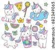 cute baby unicorn vector...