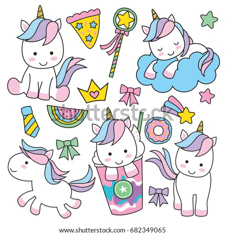 Cute Baby Unicorn Vector Illustration Pastel Stock 682349065