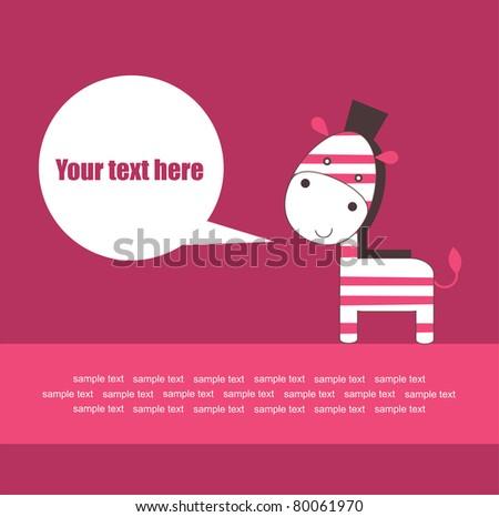 cute baby zebra greeting card. vector illustration - stock vector