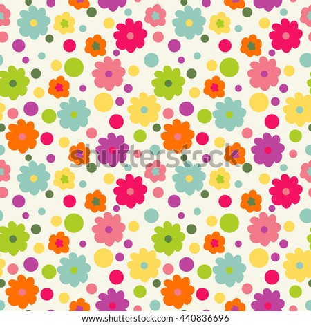 Cute babyish pattern. Seamless wallpaper with flowers.  - stock vector