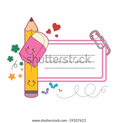 Cute back to school name tag label sticker with copy space - stock vector