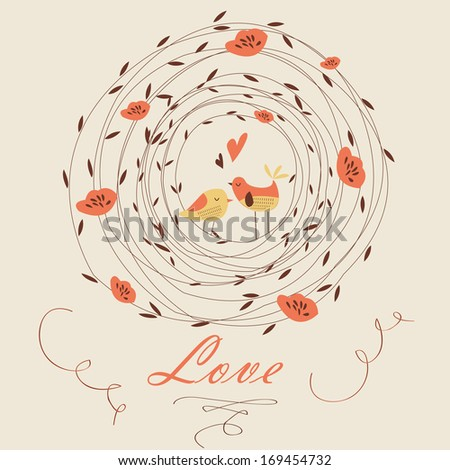 Cute background with birds and floral frame in cartoon style. Valentine card. Wedding invitation. - stock vector