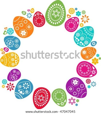 Cute background with colored Easter eggs - stock vector