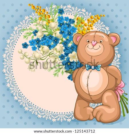 Funny Teddy Bear Happy Birthday Card Stock Photos Image