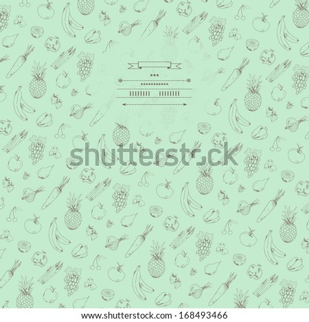 Cute background with vegetables and fruits in vector - stock vector