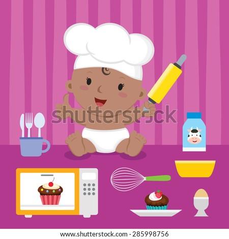 Cute baker baby girl. Cheerful girl with baking utensils. - stock vector