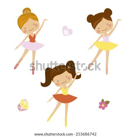 Cute ballerinas - stock vector