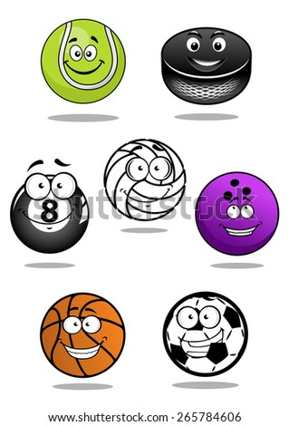 Cute balls and puck cartoon characters including equipments for football or soccer, ice hockey, volleyball, basketball, bowling, tennis, billiards  - stock vector
