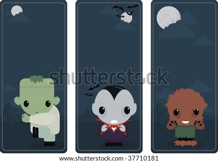 cute banner illustration with classic monsters - stock vector