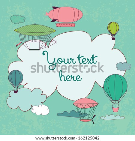 Cute banner with dirigible and clouds. Birthday card - stock vector