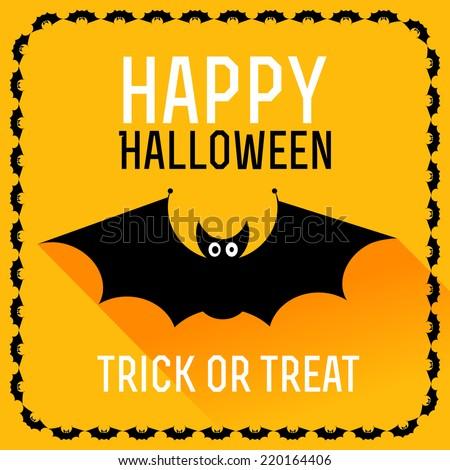 Cute bat. Happy Halloween card. Vector illustration - stock vector