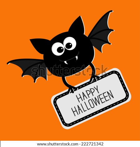 Cute bat with plate Happy Halloween card. Flat design. Vector illustration - stock vector